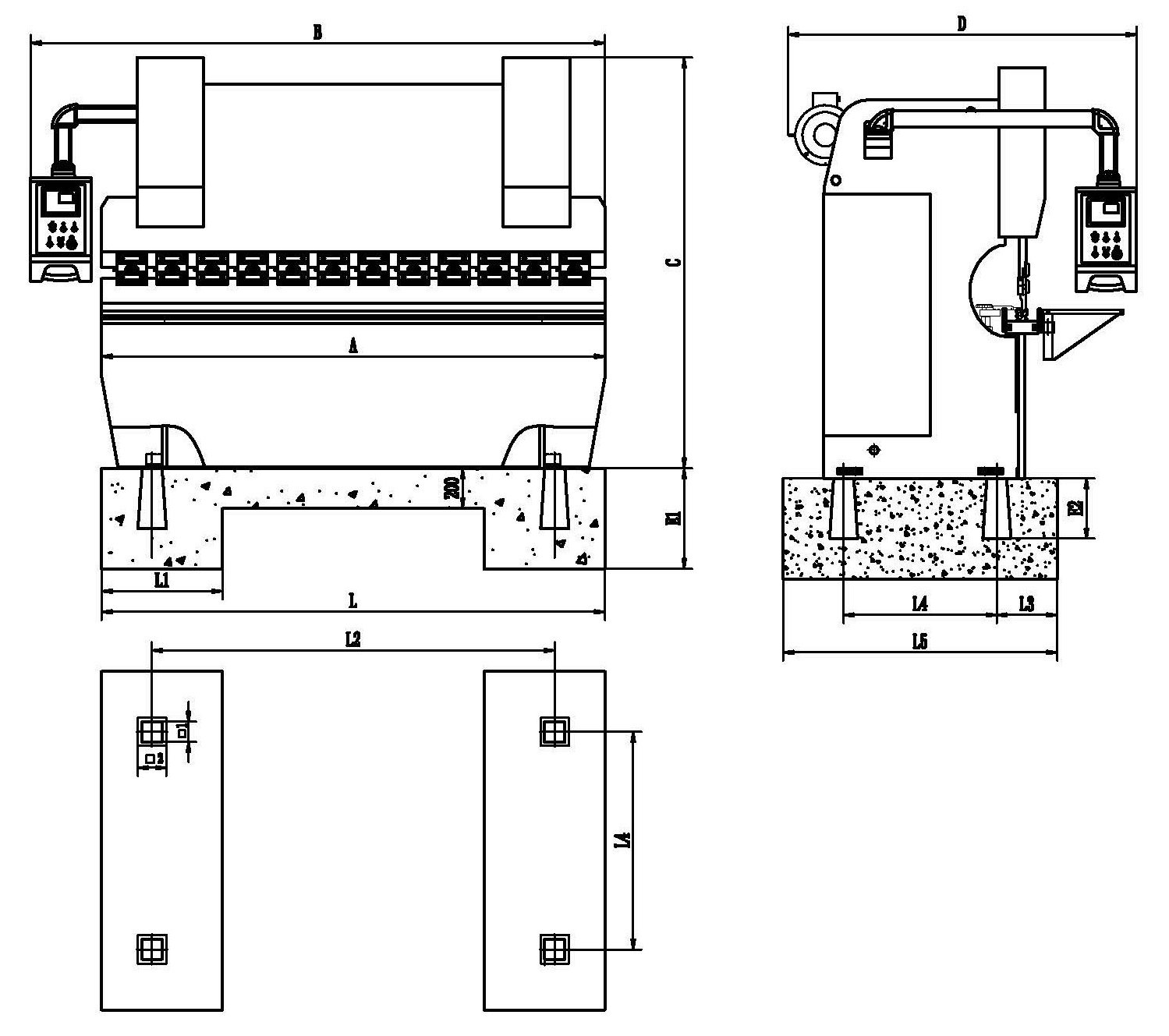 Press Brake Foundation Drawing