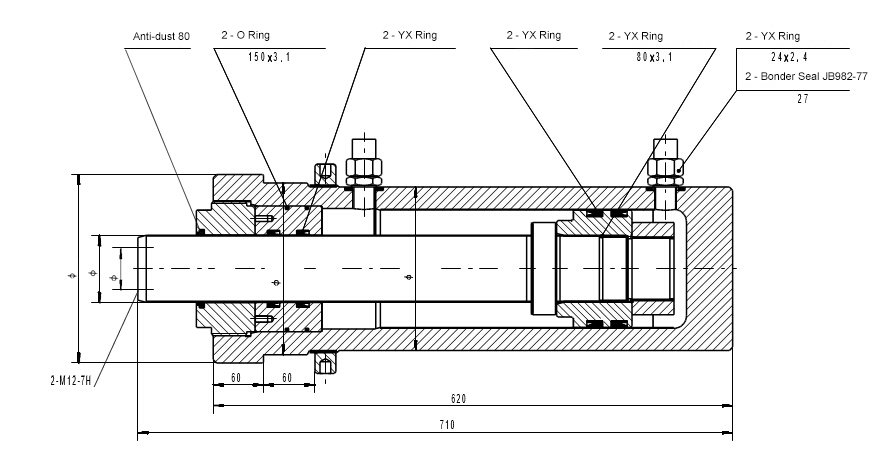 Hydraulic Press Ejection Cylinder Assembly Drawing
