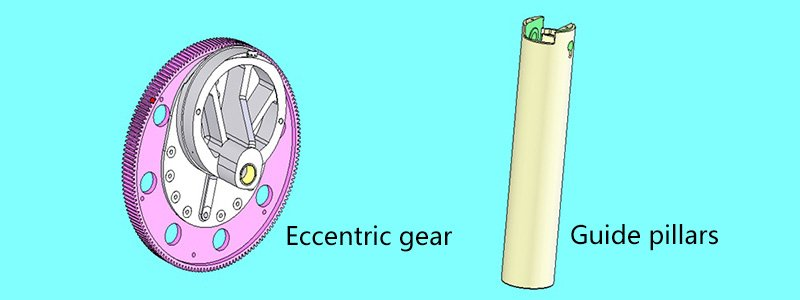 Closed punch eccentric gear and guide column