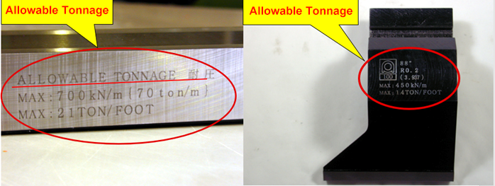 Allowable tonnage of toolings