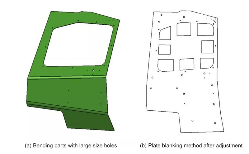 Large hole blanking method for bending parts