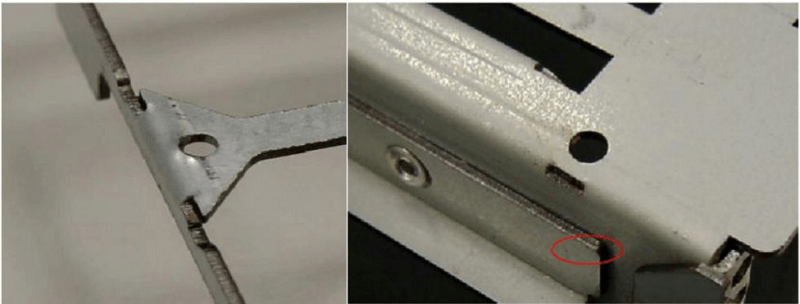 long hole with a length equal to 1.5 times the thickness of the opening is punched on the folding line
