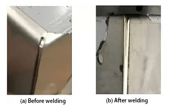 Actual laser welding effect of the corner release slot