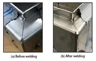 Laser welding effect of flange 45 ° bevel interface