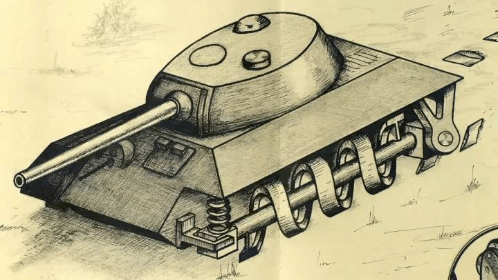 Amphibious tank armoured vehicle travel mechanism