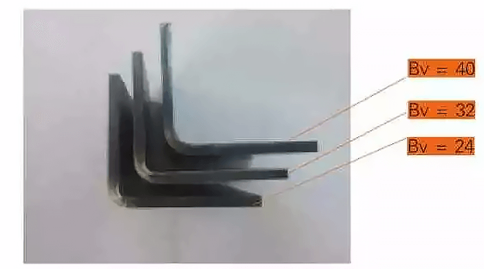 Comparison of the inside radius of 4.5 mm SPHC bending with different slot widths