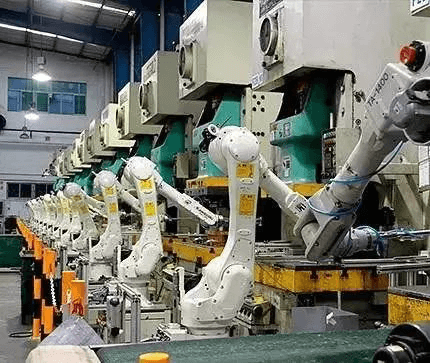Roboticized automation press line control system