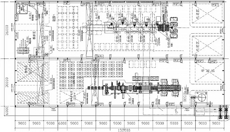 Schematic diagram of the layout of the press shop