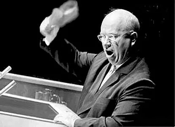 Soviet leader Khrushchev taking off his shoes and banging on the table at the UNGA meeting in 1960