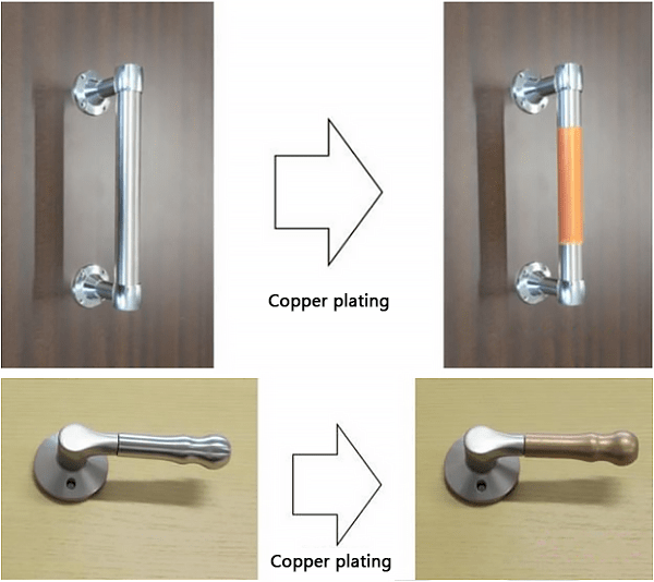 Copper plating for antibacterial effect