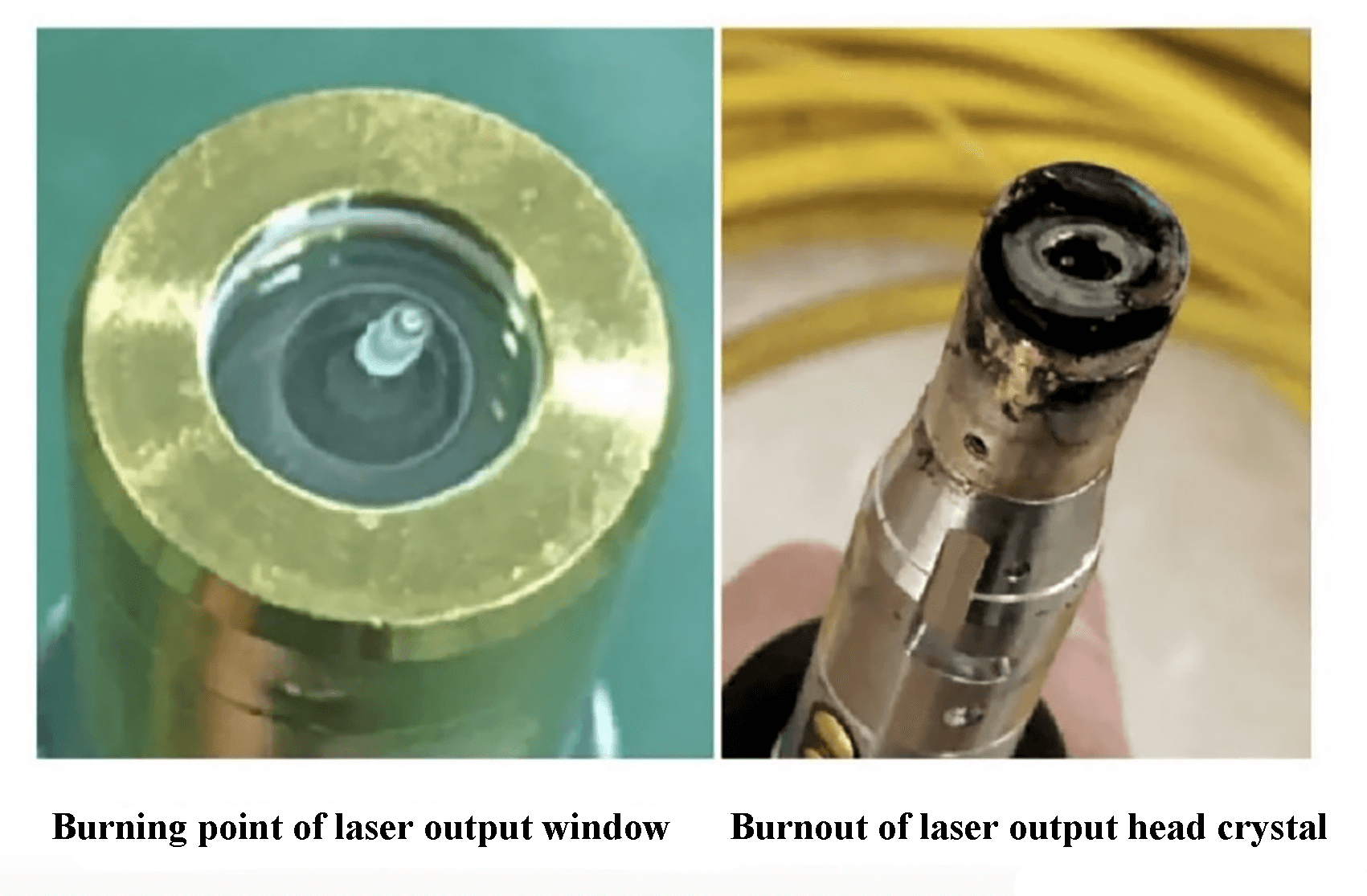 Fig. 5 Burnout of the laser output head